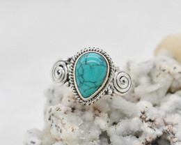 Cute natural Turquoise sterling silver Ring size I  code NA 503