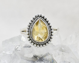 Cute natural Lemon Quartz  sterling silver Ring size M  code  NA 504