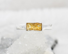 Cute natural Citrine sterling silver Ring size L code  NA 505