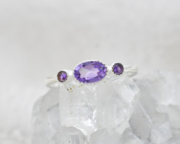 Cute natural Amethyst sterling silver Ring size M   code  NA506