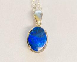 Electric Blue Aussie Doublet Opal Pendant NA 507