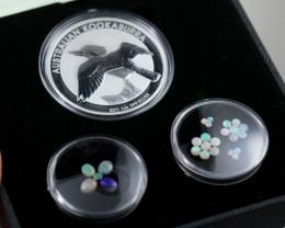 Treasures Collector set Kookaburra silver bullion .999 and  Opals NA 511