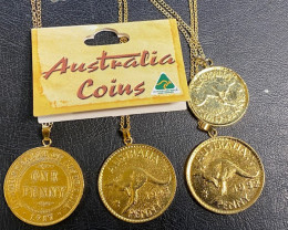 Four Aussie coins gold plated  code  NA 513
