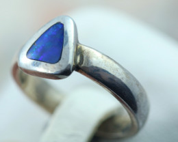 Aussie inlay opal in silver ring size L Code NA 527