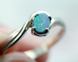 Aussie doublet opal in silver ring size L Code NA 526
