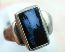 Aussie Boulder opal in silver ring size T Code NA 542