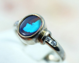 Aussie black opal in silver ring size K  code NA 543