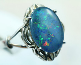 Aussie Triplet opal in silver ring size N Code NA 545