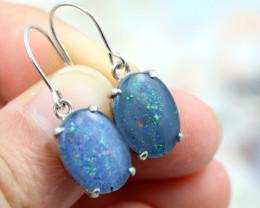 Aussie Triplet opal in silver earrimngs  Code NA 546