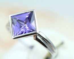 Amethyst simulant  in silver ring size P Code NA 549