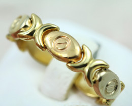 18k gold Italian link chain ring, ring size R Code NA 552