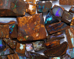 800 Cts  Slice    50pcs  Boulder opal rough Rub  CH 659