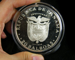 Certified Proof 1974 Silver panama 20 balboas Bullion coin code Co 686