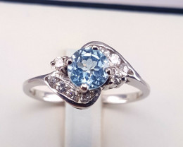 Topaz soft blue  in silver ring size Q Code NA 575