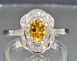 Bright Citrine  in silver ring size P Code NA 579