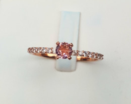 Pink tourmaline in copper plated silver ring size S code NA 583