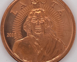Lakota amd Buffalo design .999 PURE COPPER 2010 ONE OUNCE MEDALLION CO1343