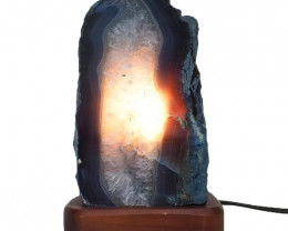 2.4kg Agate Crystal Lamp with Timber Base S823