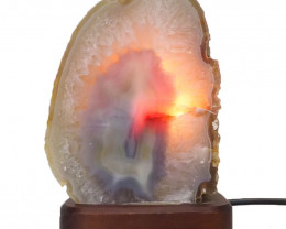 2.2kg Agate Crystal Lamp with Timber Base  S829