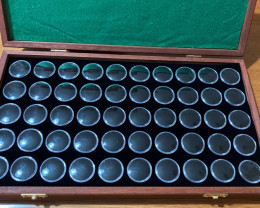 Gold Nuggets & Gemstone Display case 50 gem jars