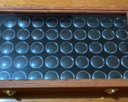 Gold Nuggets & Gemstone Display case with Glass Lid
