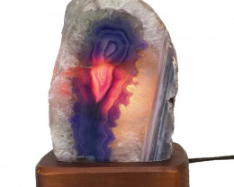 2.27kg Agate Crystal Lamp with Timber Base J1439