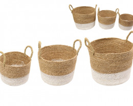 Value set 3   Reed Pot Plant holders    code BASKWHIS