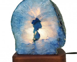 3kg Agate Crystal Lamp with Timber Base J1449