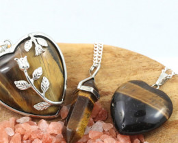 3 promotional Earthly Tigers Eye jewellry set NA 669