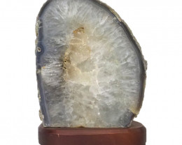 2.3kg Agate Crystal Lamp with Timber Base S834