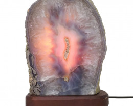 2.8kg Agate Crystal Lamp with Timber Base S838