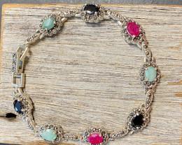 Ruby ,Sapphire ,Emerald Bracelet Antique style JGC 207
