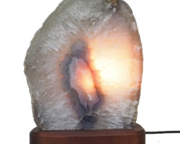 3.2kg Agate Crystal Lamp with Timber Base S841