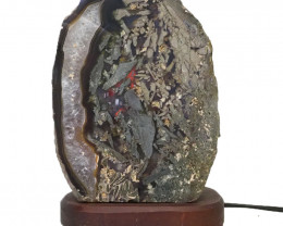 2.7kg Agate Crystal Lamp with Timber Base S842