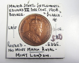 British colonial-Straits settlement LAST ISSUE 1908 ONE PENNY COIN J 2004