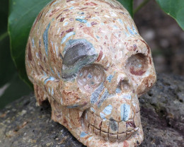 Natural Crystal Jasper Hand Carved  Skull DJ1463