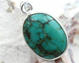 Cabochon Turquoise Silver Pendant NA 771