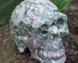 Natural Crystal Ocean Jasper Hand Carved  Skull DJ1466
