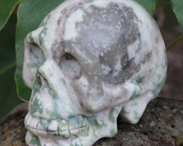 Natural Crystal Ocean Jasper Hand Carved  Skull DJ1467