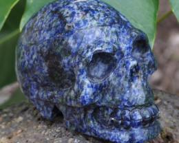 Natural Crystal Sodalite Hand Carved  Skull DJ1468