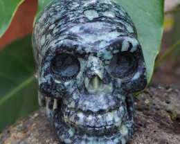 Natural Crystal Jasper Hand Carved  Skull DJ1469