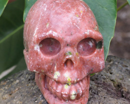 Natural Crystal Pink Jasper Hand Carved  Skull DJ1470