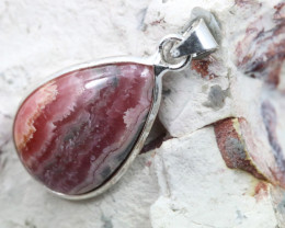 Cabochon Rhodochrosite Silver Pendant NA 775