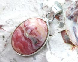 Cabochon Rhodochrosite Silver Pendant NA 776