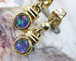 Gem Opal Triplet set in Gold Plate drop swing Earring GJC 232