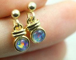 Gem Opal Triplet set in Gold Plate drop swing Earring GJC 233
