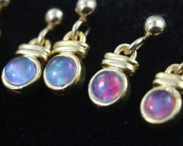 4 x Gem Opal Triplet set in Gold Plate drop swing Earring GJC 236