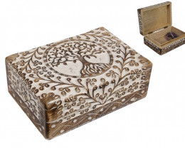 Tree Of Life  Chest White Wash  Wood jewellery Box   code  BOXTOLBH