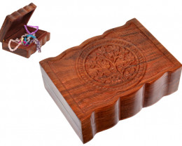 Treasures Chest  of Flower Of Life Wood jewellery Box   code  BOXFLOWC
