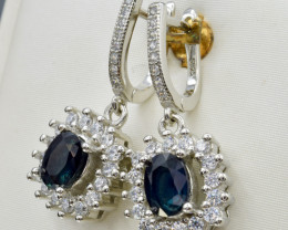 Natural Blue Sapphire, CZ and 925 Silver Earring, Elegant Design CCC 122